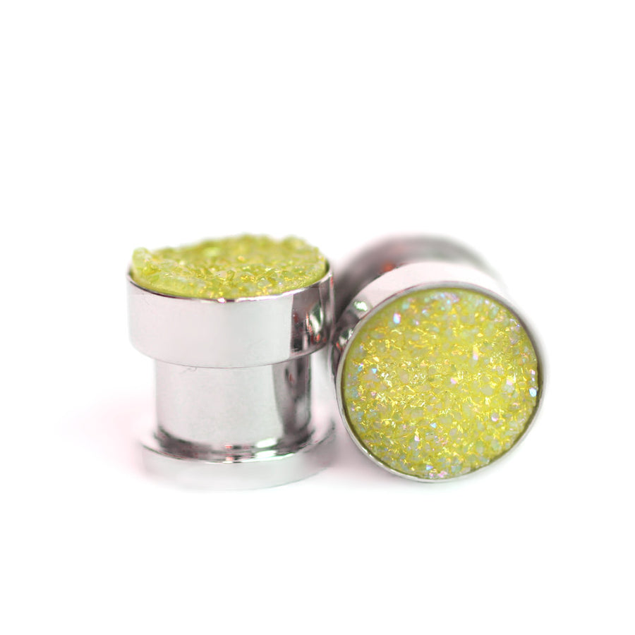 Yellow Druzy Gauge Tunnels