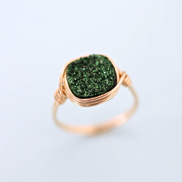 Brooke Ring in Olive Green Druzy