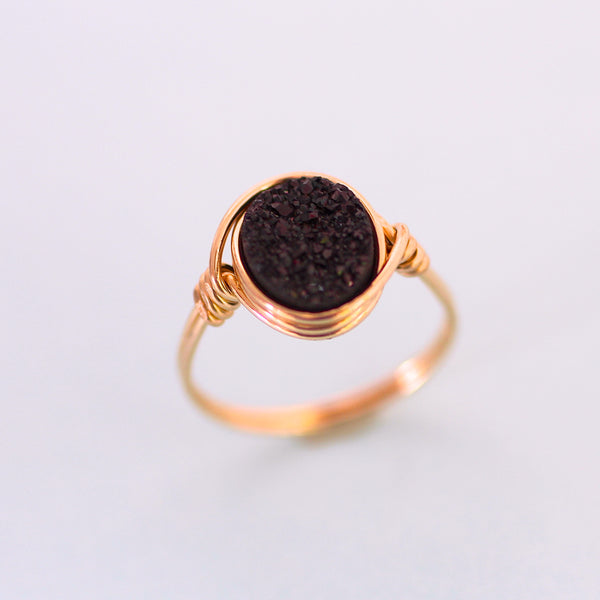 Brigitte Ring in Midnight Black Druzy