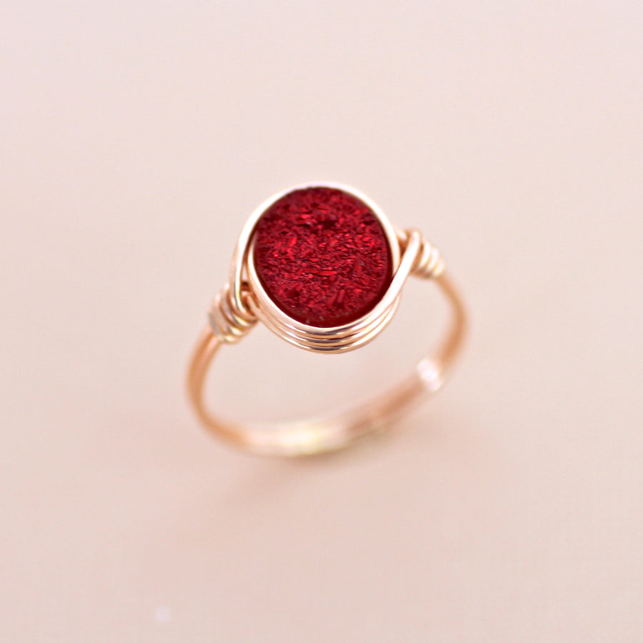 Brigitte Ring in Cranberry Druzy