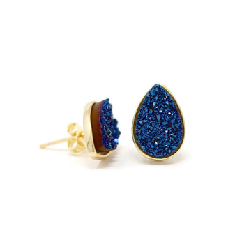 Kira Teardrop Earrings Bluzy Druzy