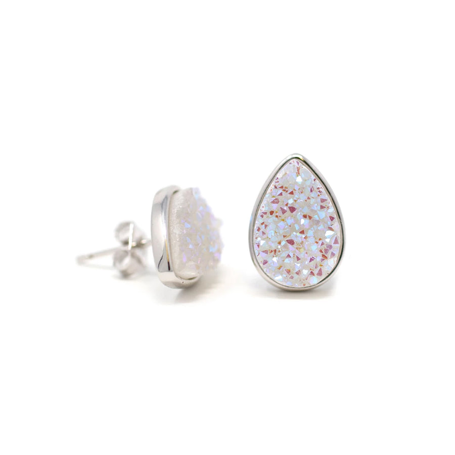 Kira Teardrop Earrings Confetti Druzy