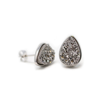 Kira Teardrop Earrings Meteorite Druzy