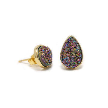 Kira Teardrop Earrings Rainbow Druzy