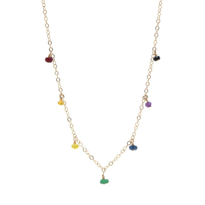 Melanie Rainbow Precious Gemstone Drop Necklace