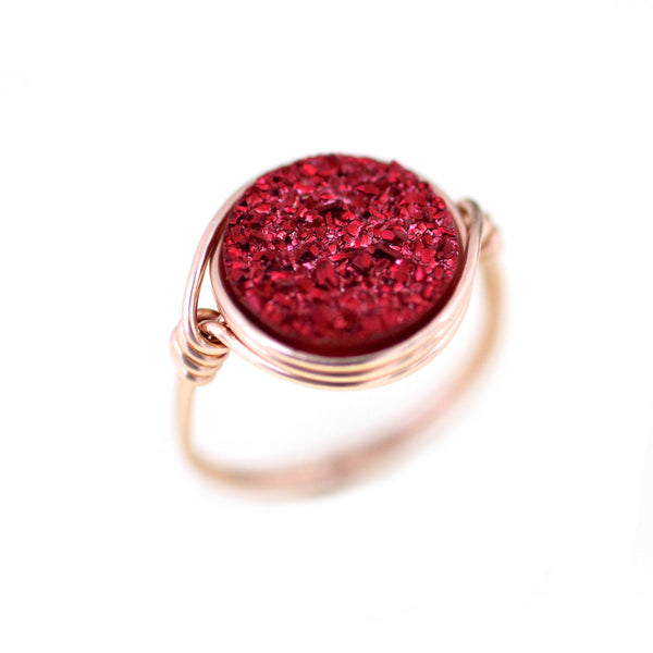 Nikita Ring Cranberry Druzy