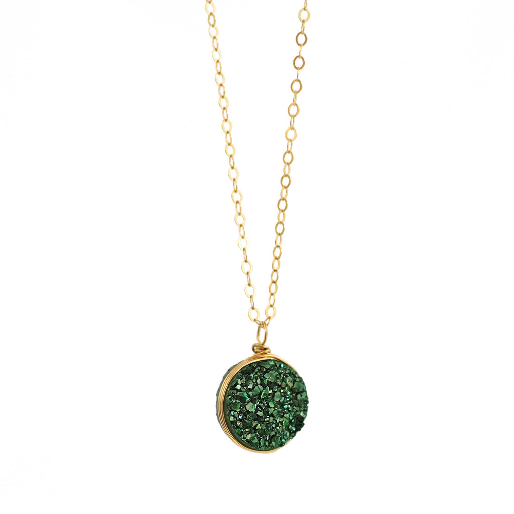 Nikita Necklace Olive Green Druzy