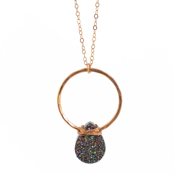 Penelope Rainbow Druzy Necklace