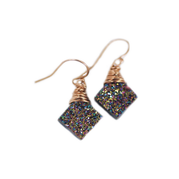 Natasha Dangle Earrings Rainbow Druzy