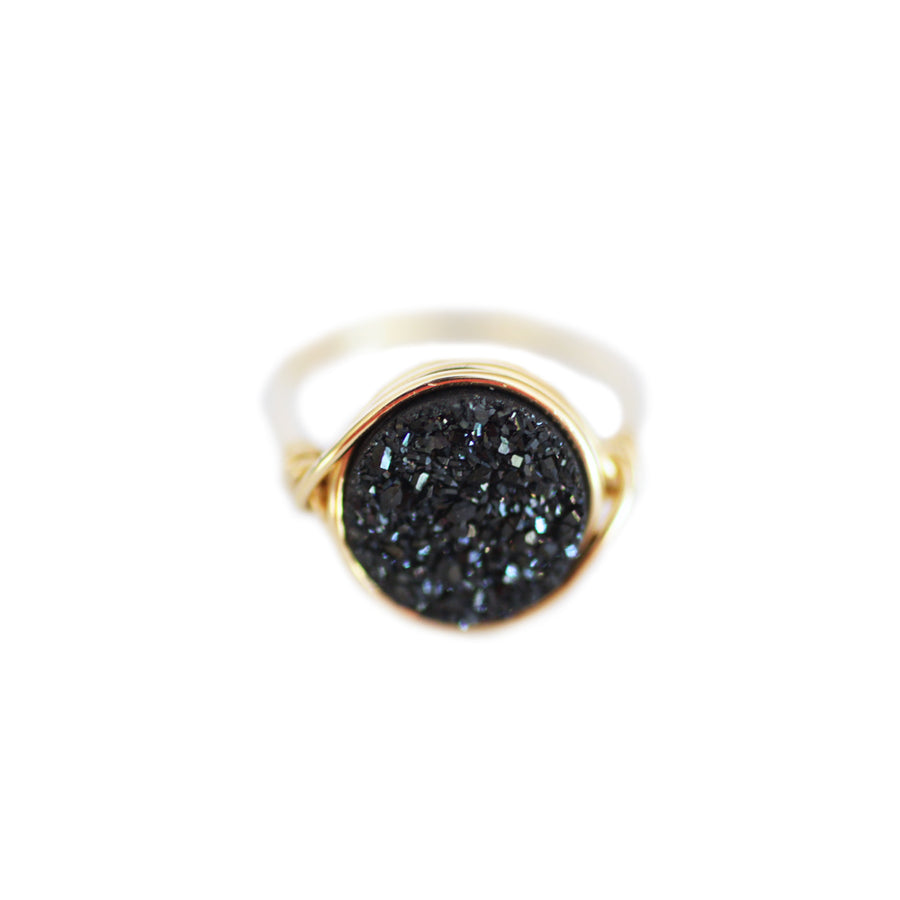 Nikita Ring Midnight Black Druzy