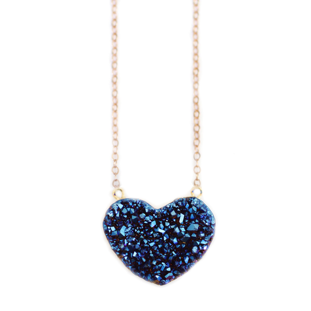 Love Necklace in Bluzy Druzy