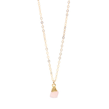 Annie Pink Druzy Drop Necklace