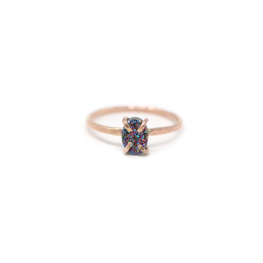 Emma Rainbow Druzy Prong Ring