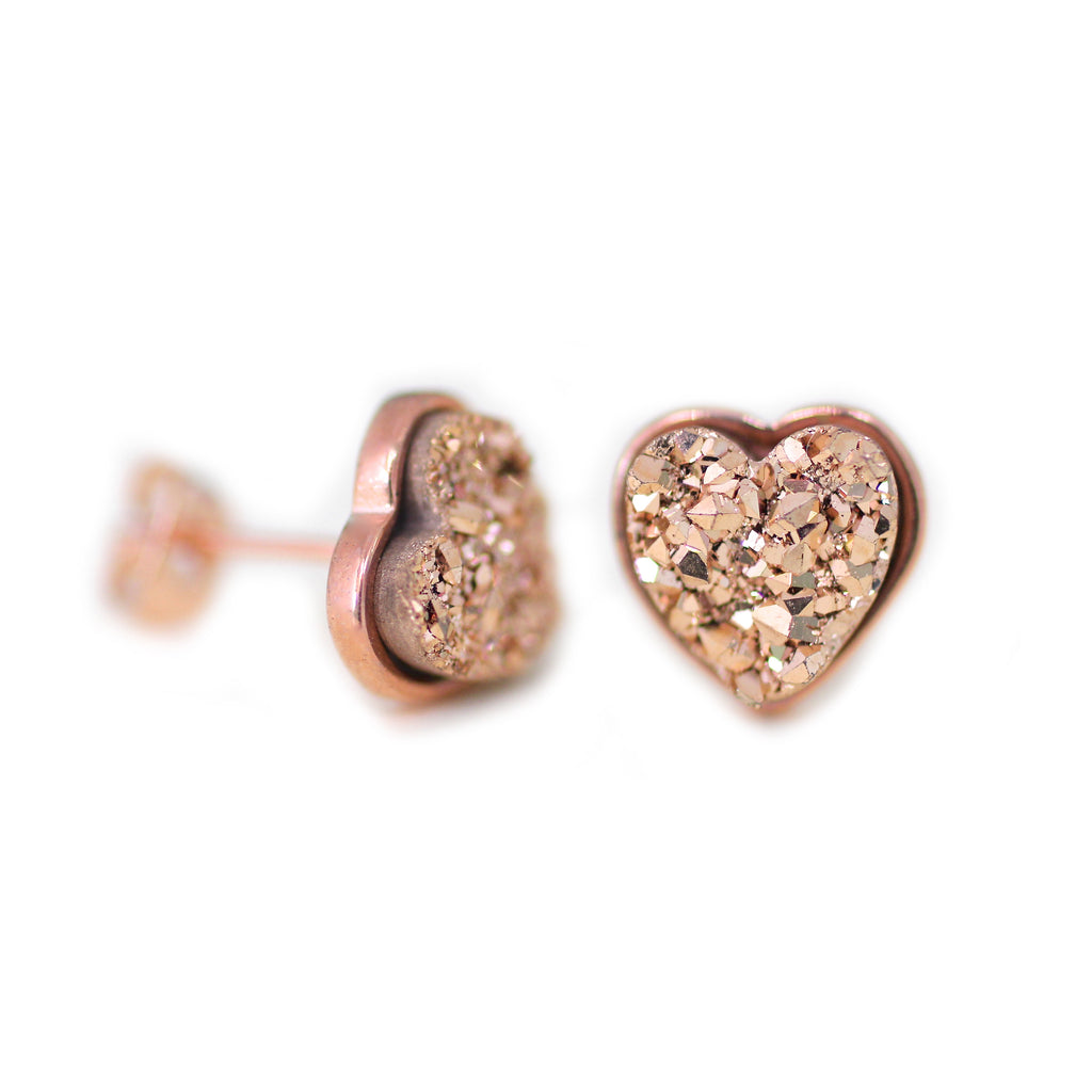 Sweetheart Rose Druzy Earrings