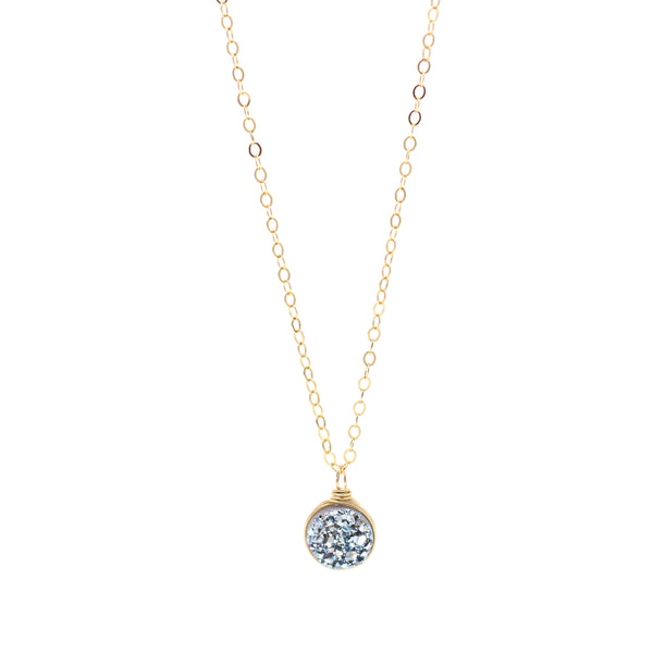 Leah Tiny Blue Steele Druzy Necklace