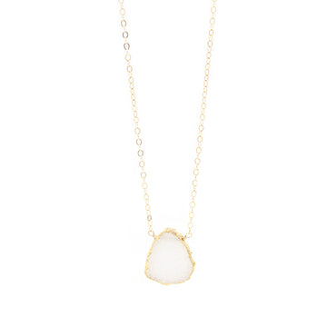Charlotte White Druzy Slice Necklace in Gold
