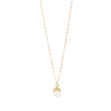 Annie White Druzy Drop Necklace