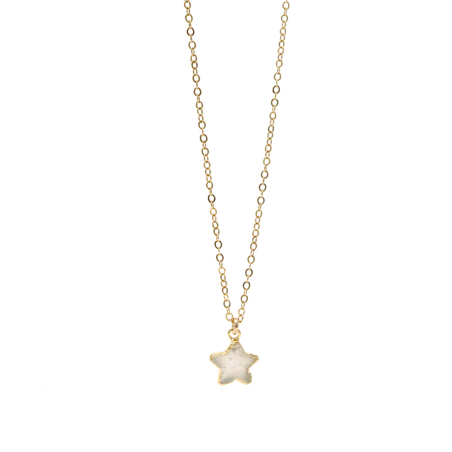 Stella White Star Druzy Necklace in Gold