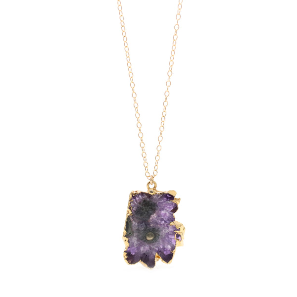 Amethyst Stalactite Slice Necklace - OOAK!