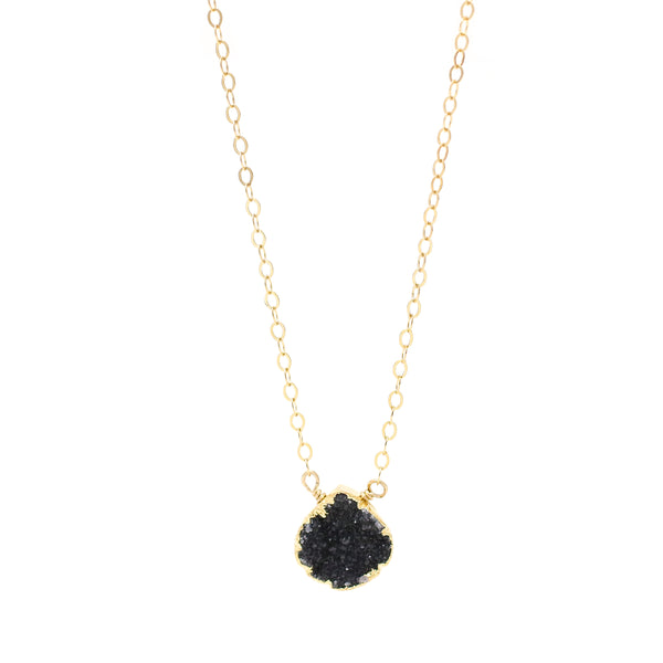 Sophia Black Druzy Drop Necklace