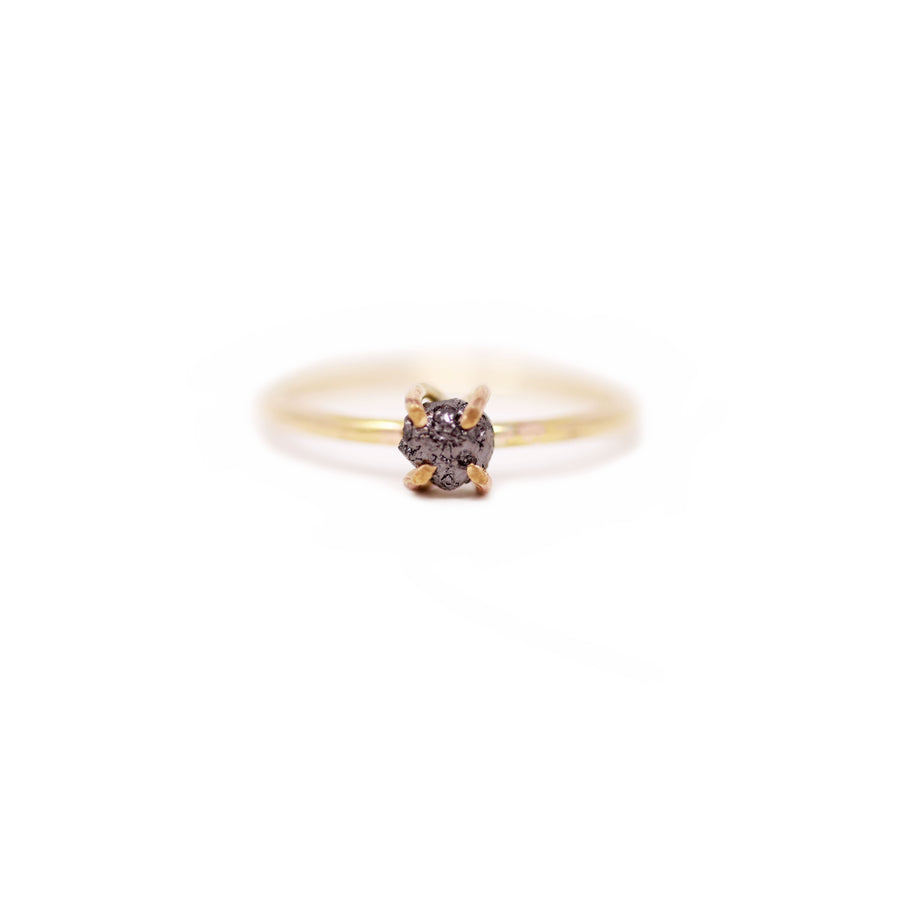 Sadie Raw Black Diamond Prong Ring