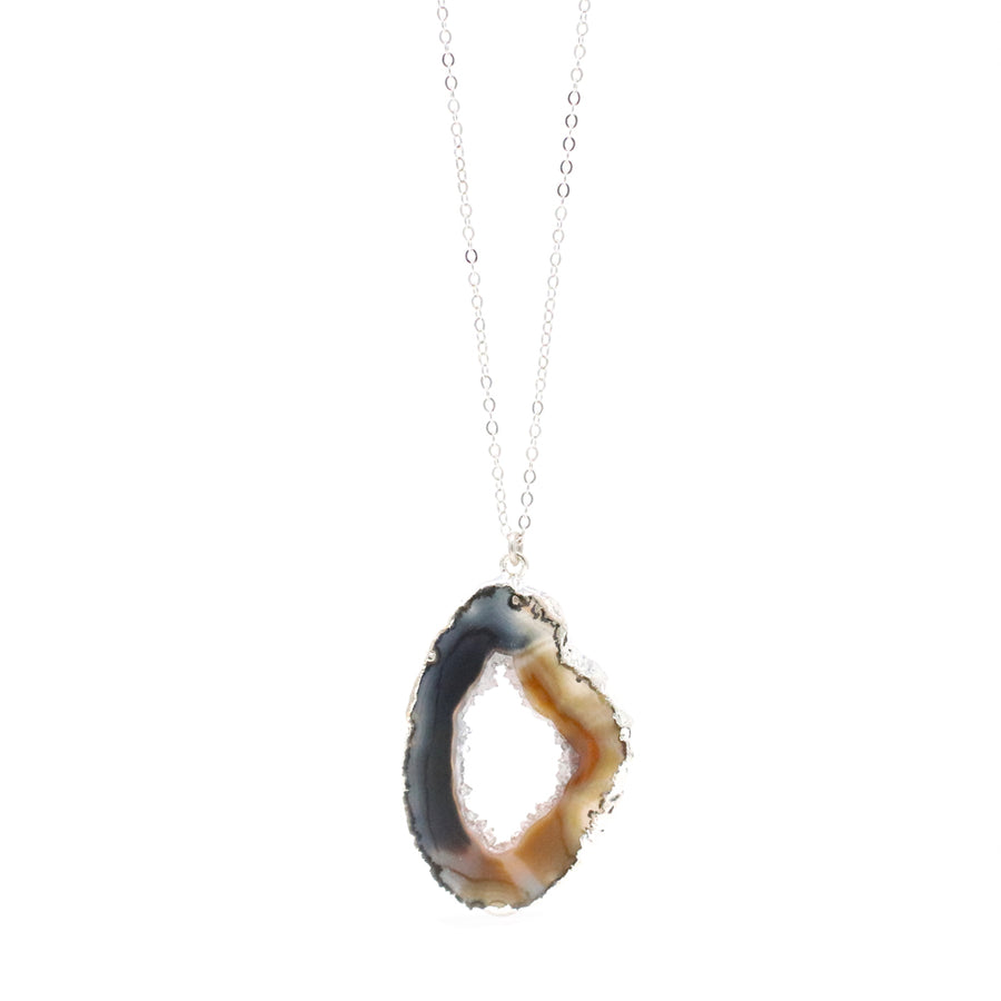 Bridget Agate Slice #1 Necklace in Silver - OOAK!