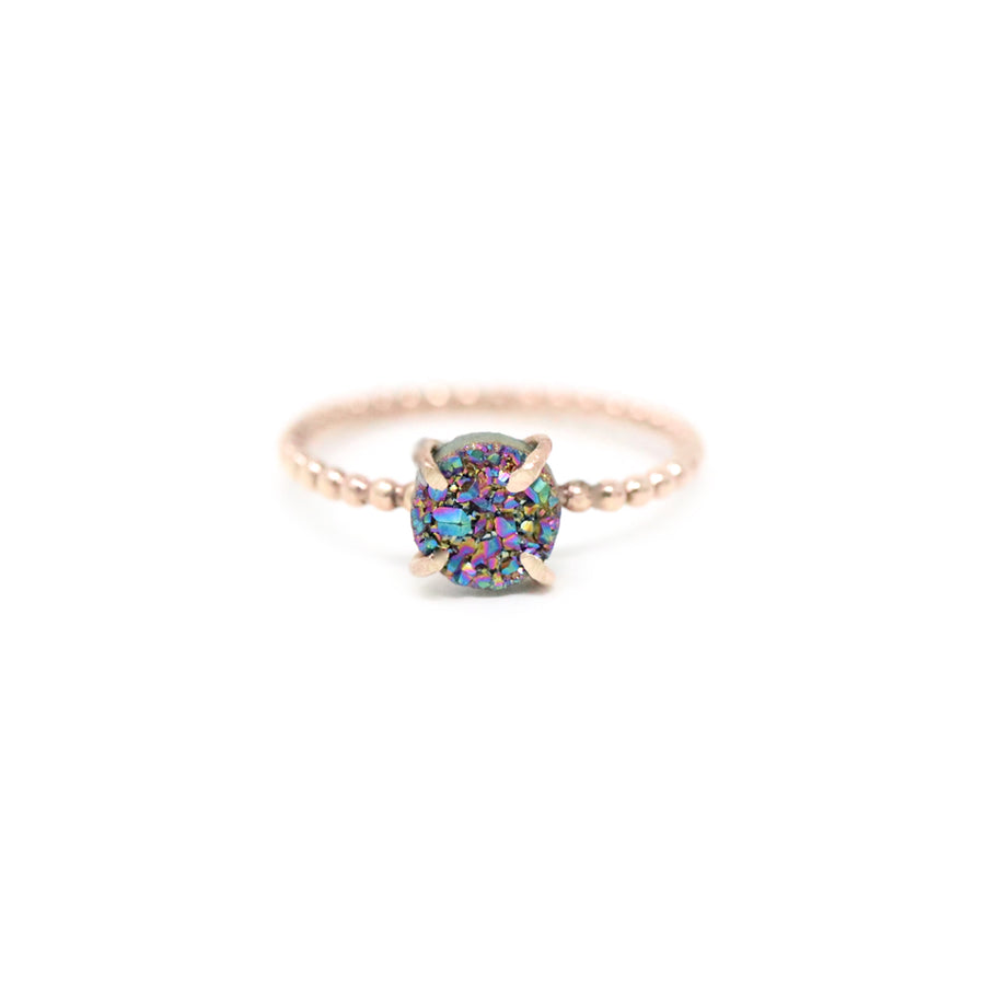 Emma Beaded Round Rainbow Druzy Prong Ring