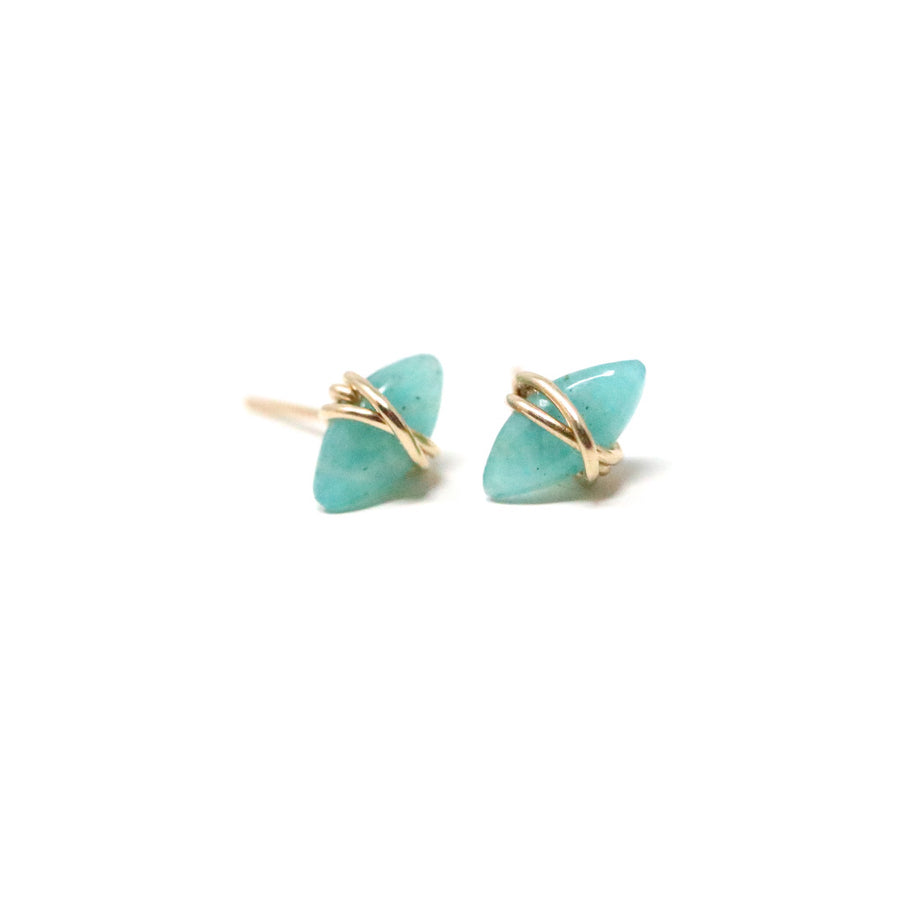 Nora Stud Earrings in Amanzonite Gemstone
