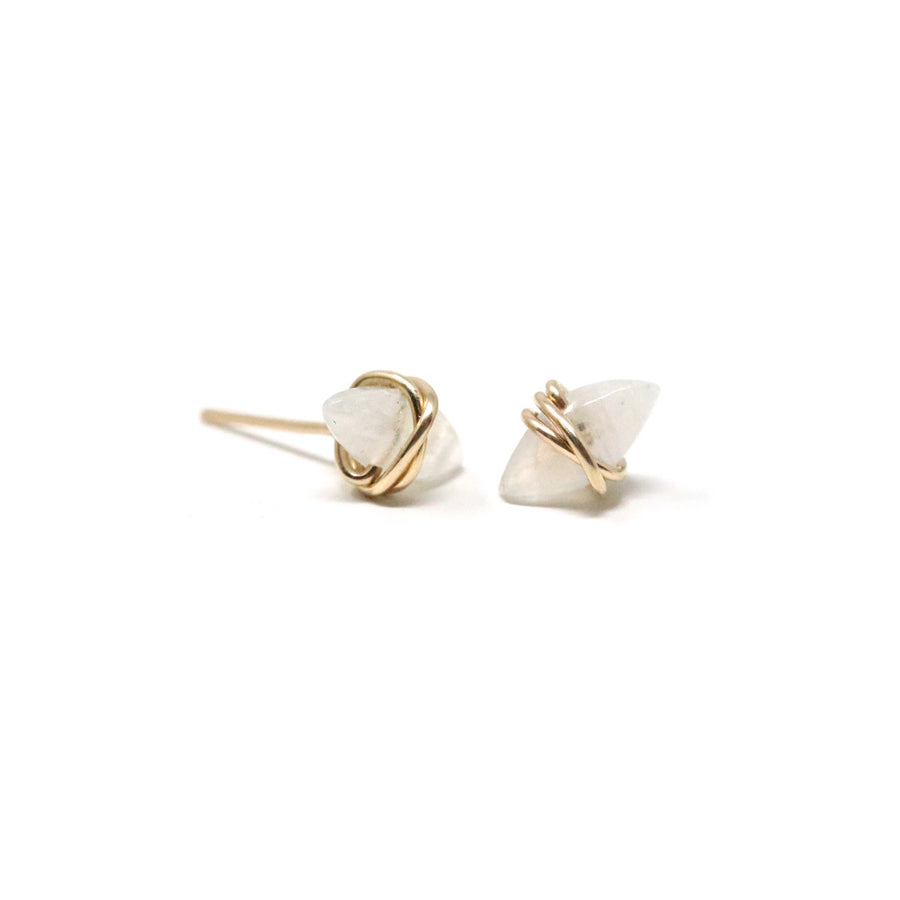 Nora Stud Earrings in Rainbow Moonstone Gemstone