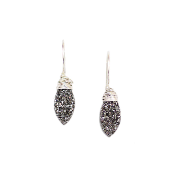 Scarlett Dangle Earrings Black Druzy