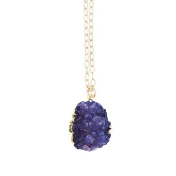 Kelly Necklace Amethyst Druzy in Gold - One of a Kind (choose your own stone)