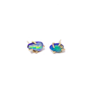 Limited Edition Opal & Lapis Lazuli Gemstone Prong Stud Earrings