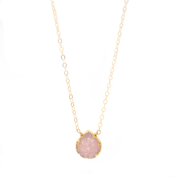 Sophia Pink Druzy Drop Necklace