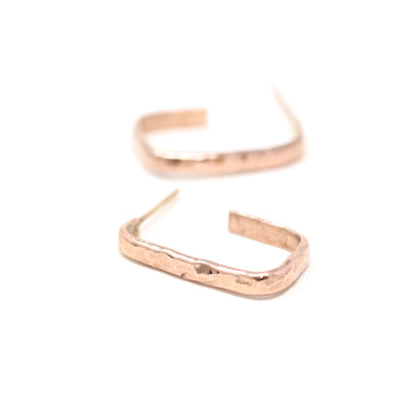 Alice Hammered Rectangle Hoop Earrings