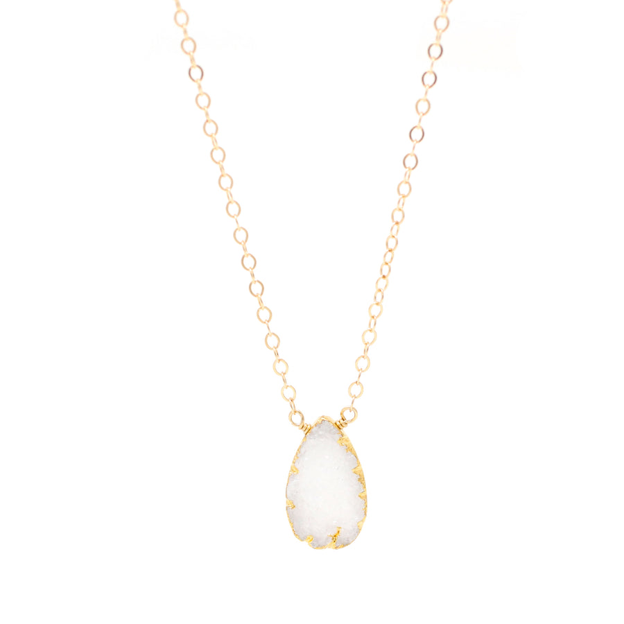 Sophia White Druzy Drop Necklace
