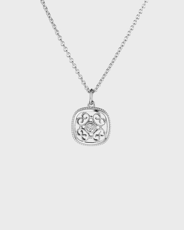 Filigree Pendant 1x0,06ct white gold – Kalevala Originals