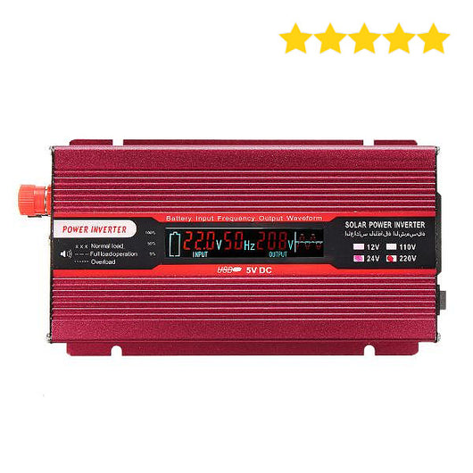 Solar Power Inverter Modified Sine Wave LED Voltage Display 2000W DC 12V or 24V to AC 110V - Surest Deals Store