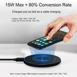 Qi Fast Wireless Mobile Phone Charger 15W 10W 7.5W 5W, Black - Surest Deals Store
