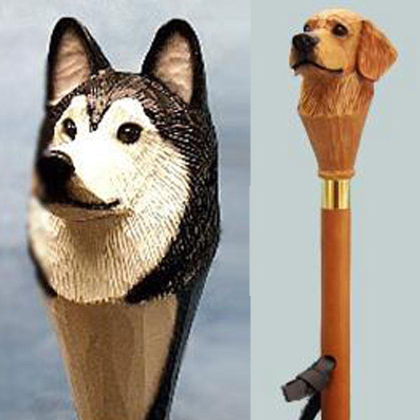 Dog Theme Handle Wood Wildlife Hiking Sticks