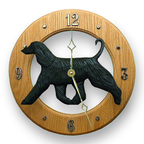 Afghan Hound Dog Light Oak Hand Crafted Wall Clock Fawn