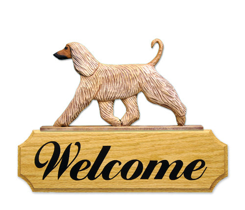 Afghan Hound Dog in Gait Yard Welcome Sign Fawn