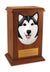 Alaskan malamute Dog Light Oak Memorial Cremation Urn Black and White
