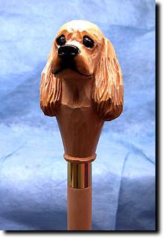 American Cocker Spaniel Dog Head Cast Resin Walking Cane Stick