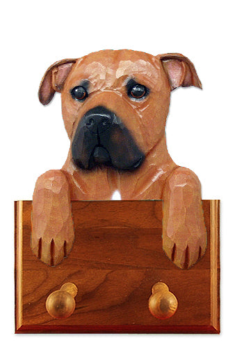 American Staffordshire Terrier Natural Dog Leash Holder Black