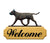 American Staffordshire Terrier Dog in Gait Yard Welcome Sign Black