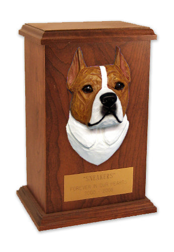 American staffordshire terrier Dog Light Oak Memorial Cremation Urn Black