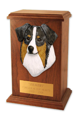 Australian shepherd Dog Light Oak Memorial Cremation Urn Blue Merle