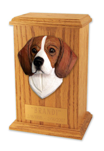 Beagle Dog Light Oak Memorial Cremation Urn Red and White