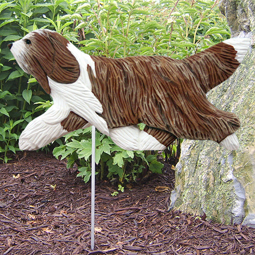 Bearded Collie Garden Landscaping Stake Blue and White