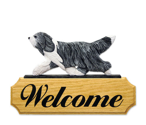 Bearded Collie Dog in Gait Yard Welcome Sign Blue and White